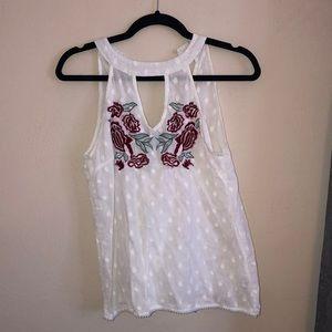 Francesca's floral white top